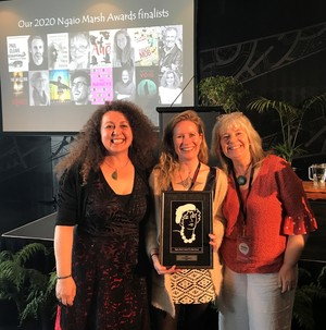 Ngaio Marsh Awards judge and event MC Vanda Symon (left) with 2020 Best Novel winner Becky Manawatu (centre) and Mākaro Press publisher Mary McCallum at WORD Christchurch.